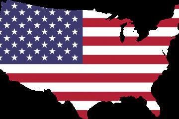 Flagge der USA in Form der USA